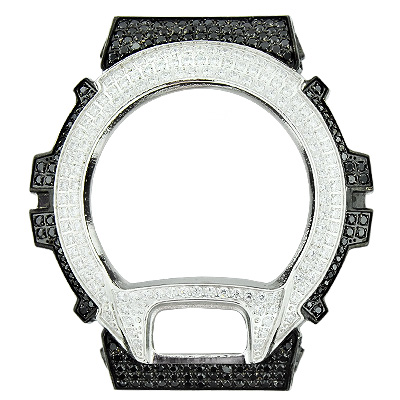 Custom Black and White G-Shock Bezel with Crystals