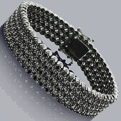 Custom Black Diamond Bracelet 4 Rows 10K 11.00ct