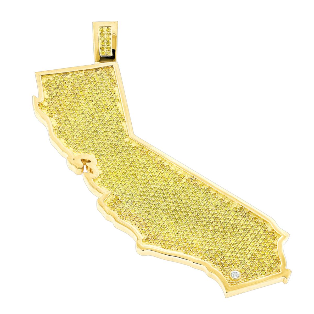 Custom California State White Yellow Diamond Pendant 18.2ct 14K Gold