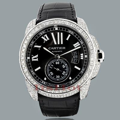 Custom Cartier de Calibre Mens Diamond Watch 9.25ct