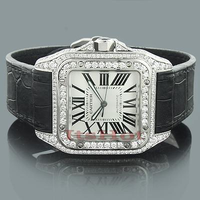 Custom Cartier Santos 100 Mens Diamond Watch 6.92ct
