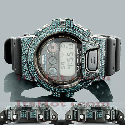 Custom Casio Watches: Blue Diamond G-Shock Watch 5.25ct