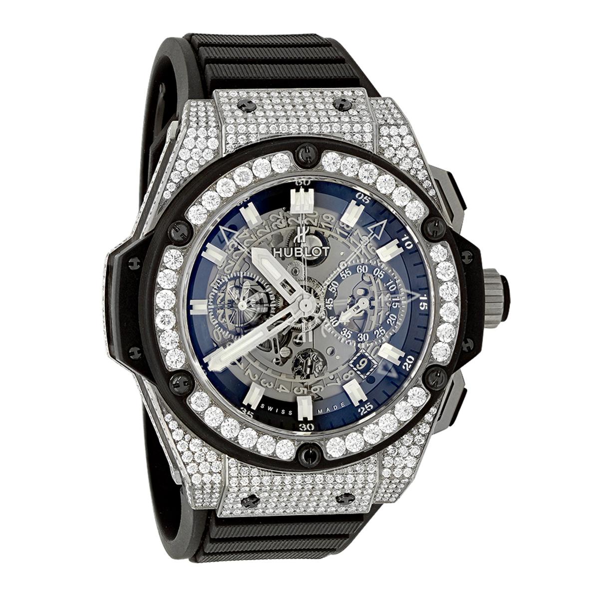 Custom Diamond Hublot King Power Skeleton Dial Titanium Mens Watch 7.75ct