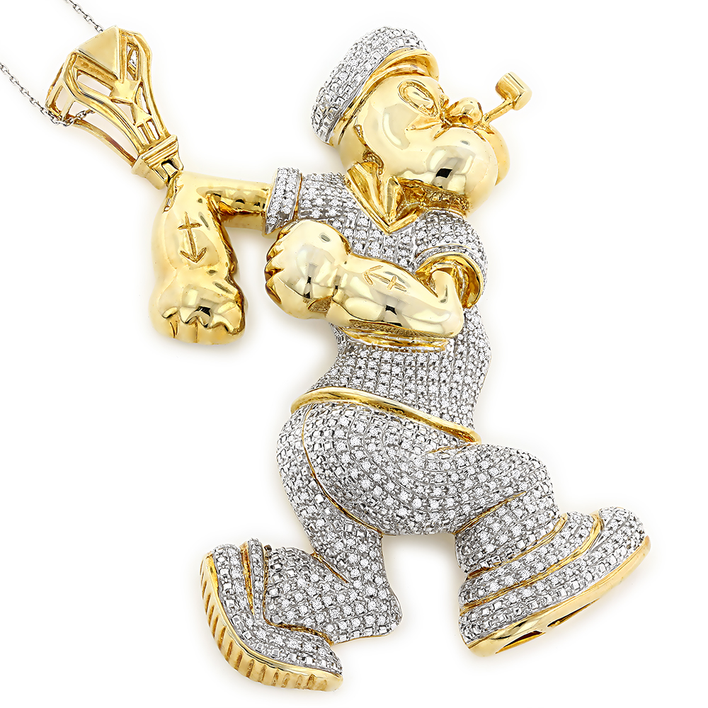 Custom Diamond Popeye Pendant in Sterling Silver 4ct Gold Plated