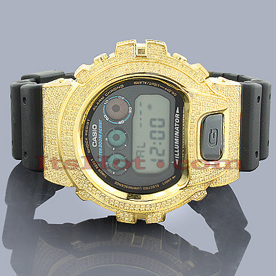 Custom G-SHOCK Watches: Yellow CZ Crystal Casio Watch