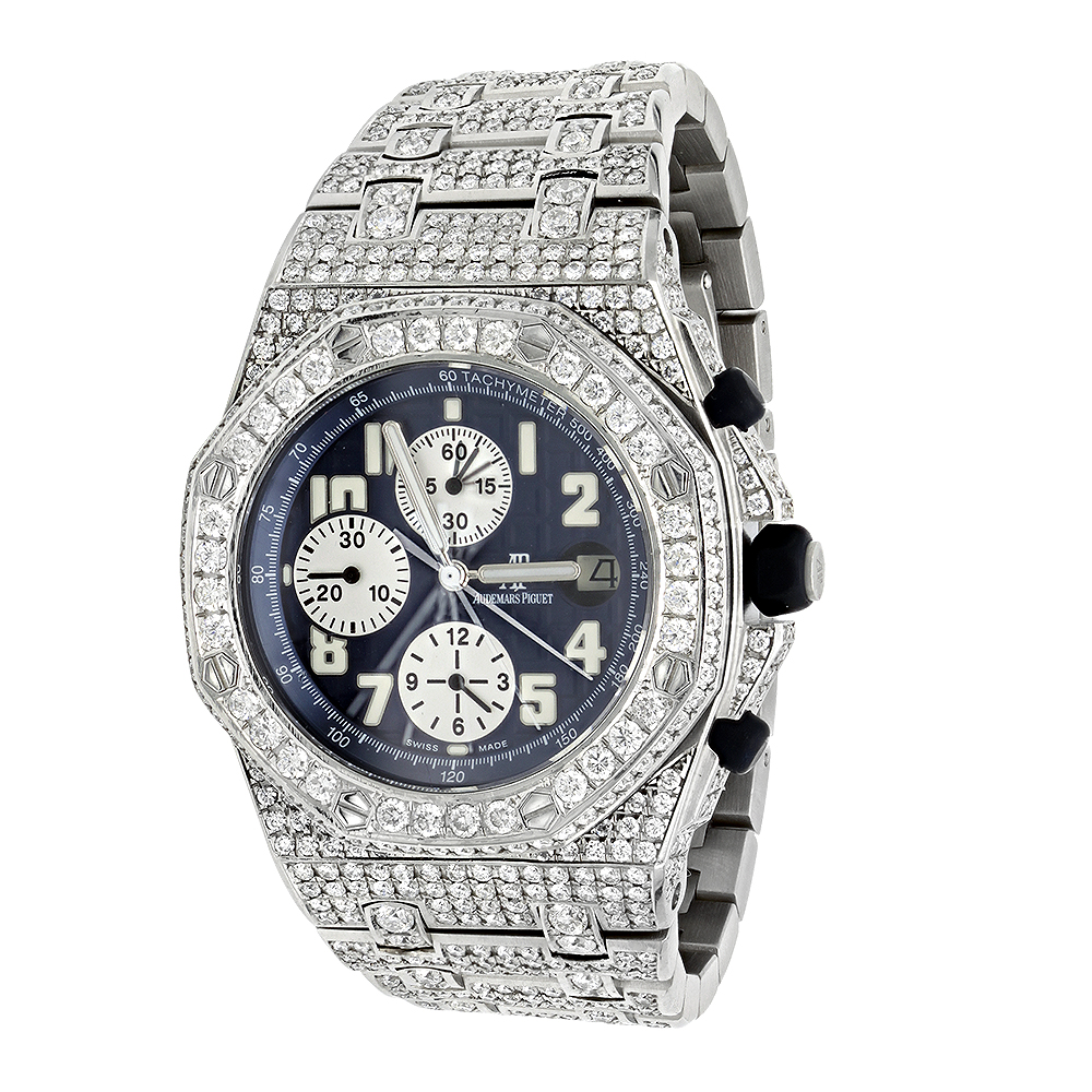 Custom Iced Out Diamond Audemars Piguet Royal Oak Offshore Men's Watch 18ct