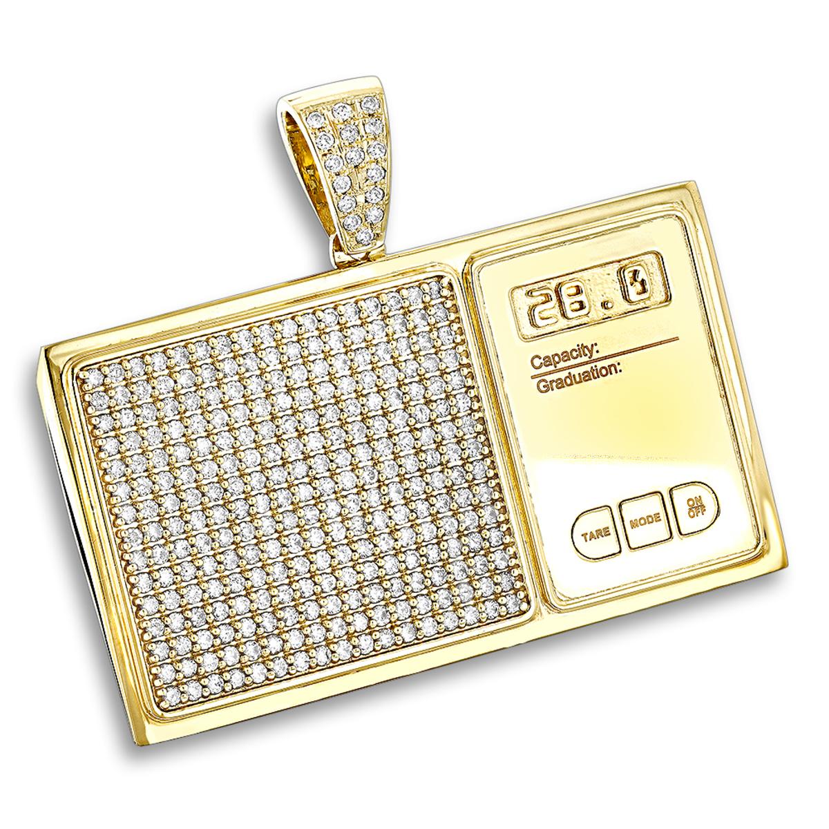 Custom Jewelry: 10K Gold Diamond Digital Scale Mens Pendant 4ct