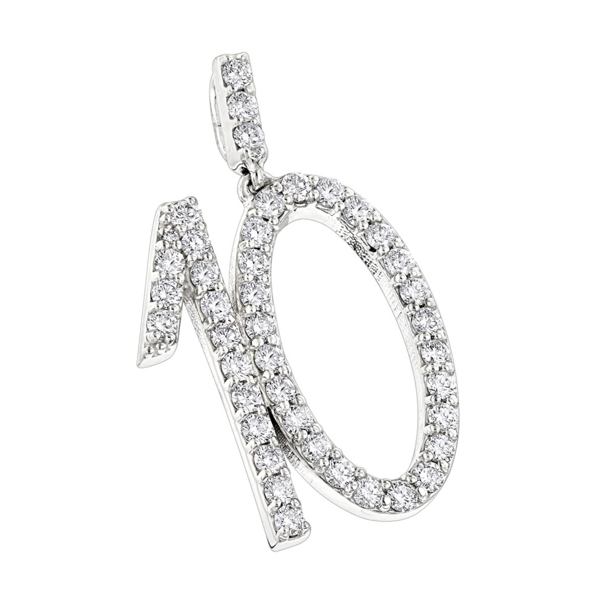 Custom Jewelry: Diamond Number 10 Pendant in 14k Gold 1.15ct