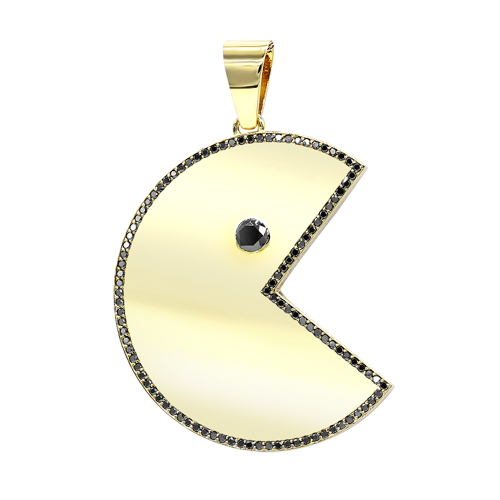 Custom Jewelry - Large Diamond Pacman Pendant for Men in 14k Gold 2 Carat