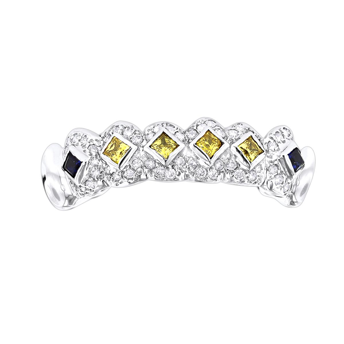 Custom Jewelry: Solid 14K Gold Yellow Diamond Sapphire Grillz 0.94ct