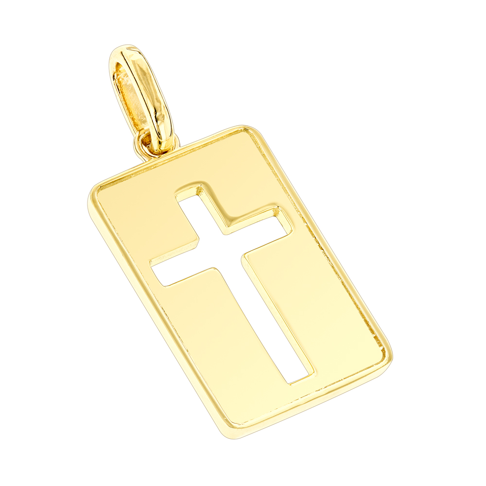 Custom Luccello 18K Solid Gold Dog Tag Cross Pendant