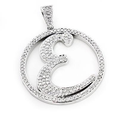 Custom Made Diamond Initial E Pendant 3.29ct 10K Gold Alphabet Letter