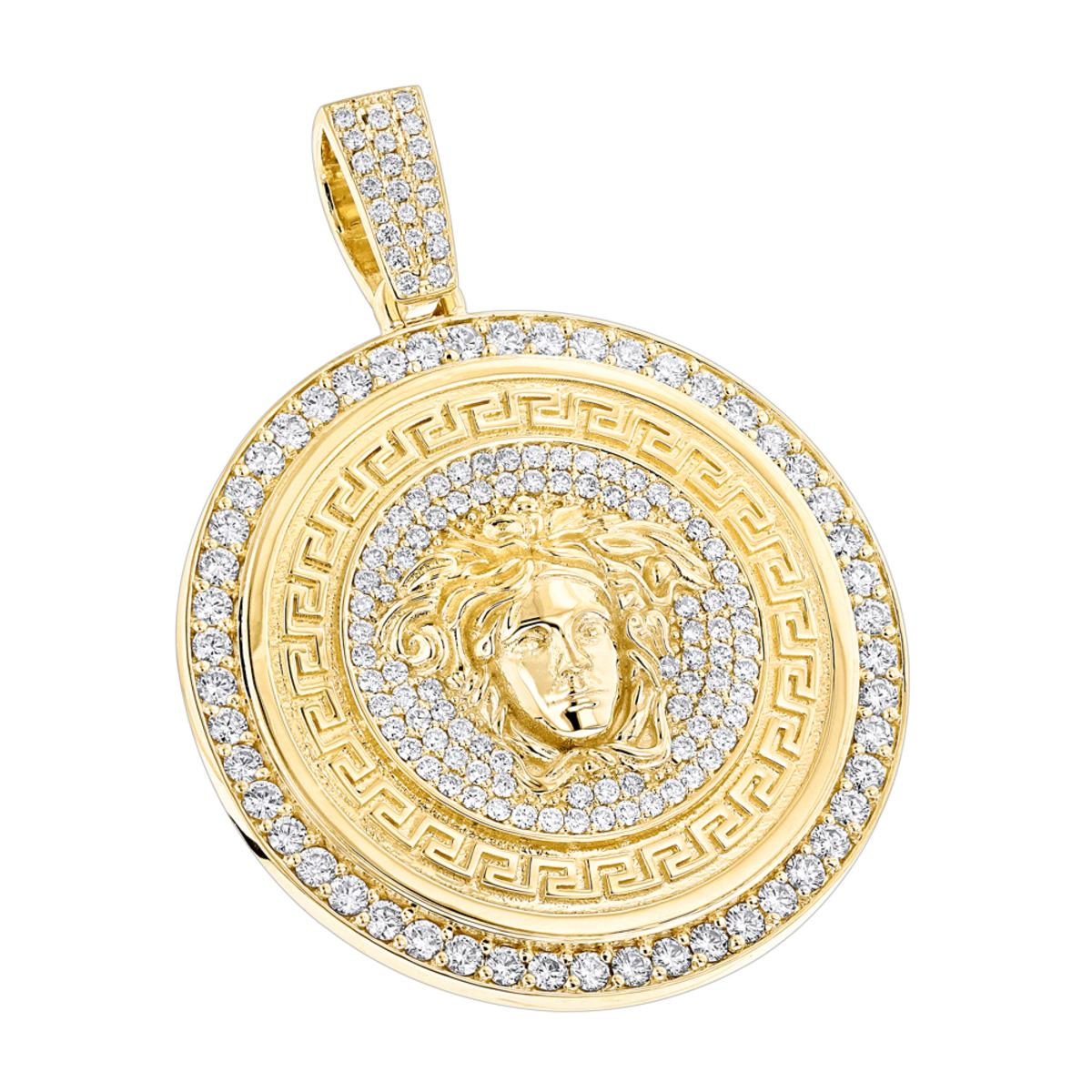 Custom Made Diamond Versace Style Medusa Pendant Medallion 18K Gold 6ct
