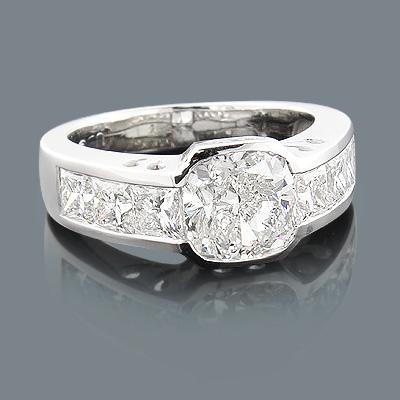 Custom Made Engagement Ring 5.4ct Cushion Cut Center Diamond 14K White Gold