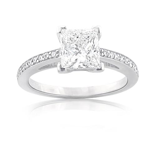 Custom Made Engagement Rings: Princess Cut Diamond  Ring in Platinum 1.27ct