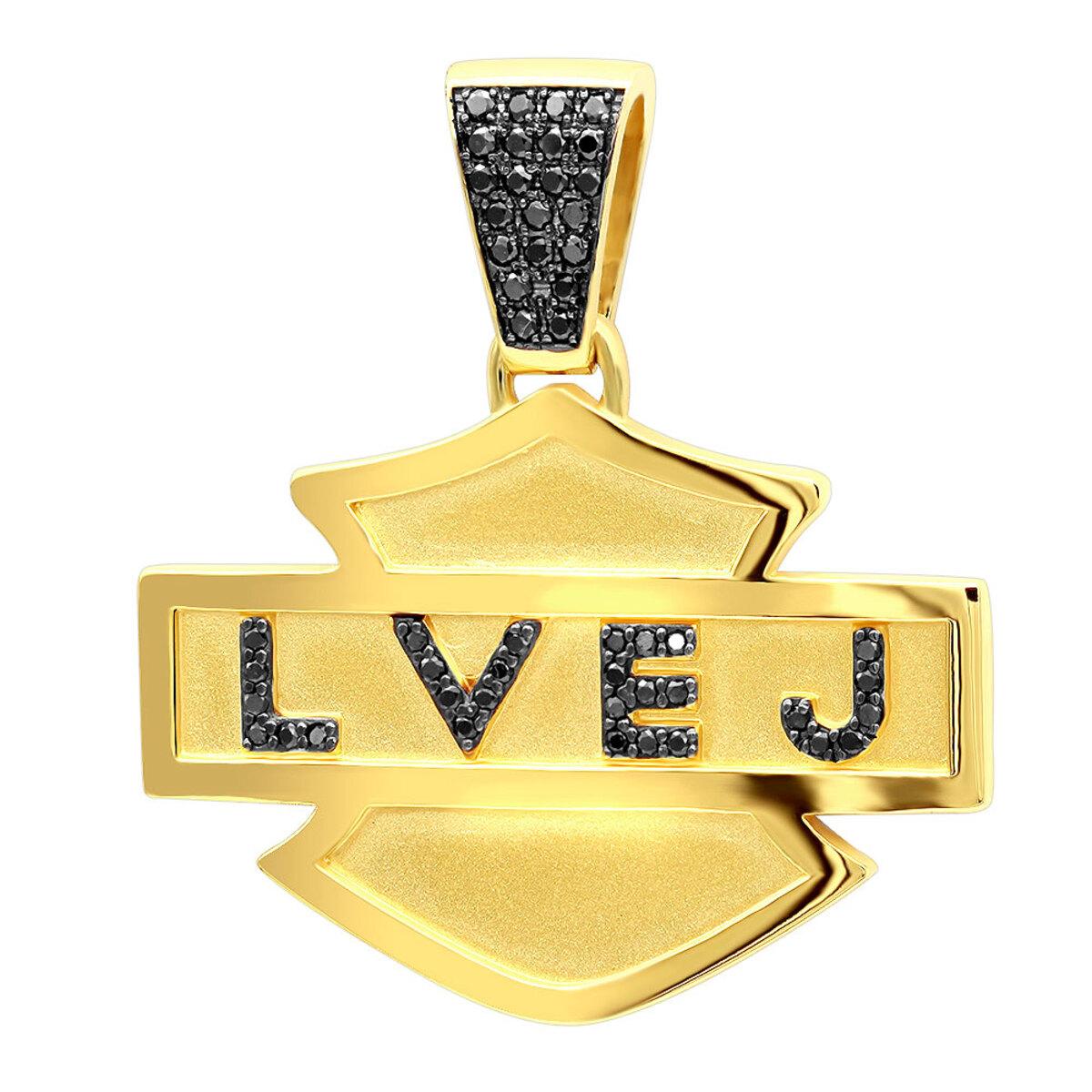 Custom made logo name black diamond pendant for men 14k gold 055ct aloadofball Image collections