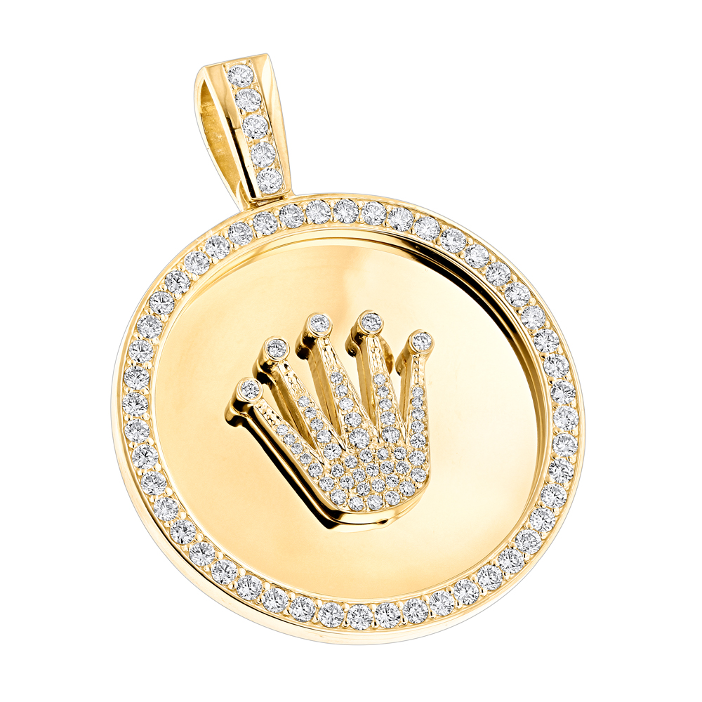 Custom made solid 18k gold crown diamond pendant rolex style custom made solid 18k gold crown diamond pendant rolex style medallion 6ct aloadofball Image collections