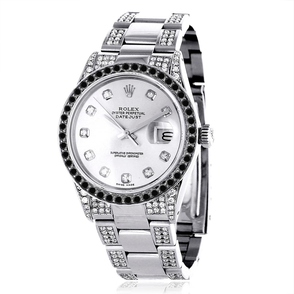 Custom White Black Diamond Rolex Datejust Mens Watch 7ct