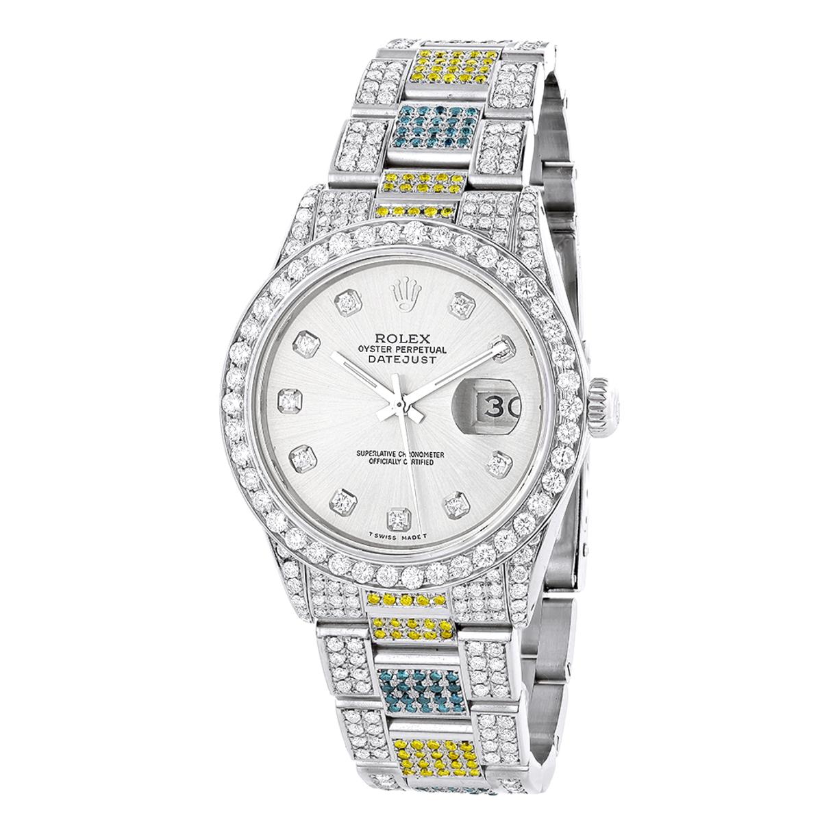 Custom White Blue Yellow Diamond Rolex Datejust Mens Watch 10.3ct