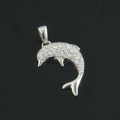 Cute 14K Gold Diamond Dolphin Pendant 0.23ct
