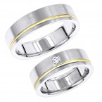 14K Gold Two Tone His and Hers Diamond Wedding Bands Set by Luxurman