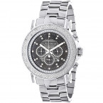 Oversized Mens Diamond Watch 0.25ct Black MOP Luxurman Escalade w Chronograph
