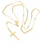 Solid 14K Yellow Gold Rosary Bead Necklace 4mm 26in
