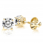 Solitaire 1 Carat Round Diamond Stud Earrings F-G VS in 4 Prong 18K Gold