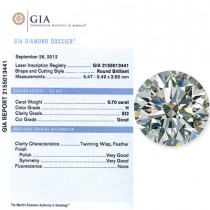 0.70 CT Round Cut Diamond H SI2 GIA Certified
