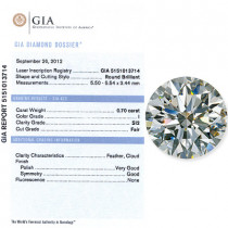 0.70 CT Round Cut Diamond I SI2 GIA Certified