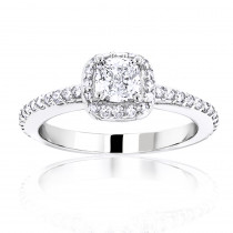 1 Carat Cushion Cut Diamond Engagement Ring 14K Gold Halo Design