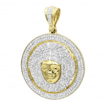 1 Carat Mini  Diamond Medusa Head Pendant for Men Medallion in 10k Gold