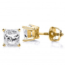 1 Carat Solitaire Princess Cut Diamond Stud Earrings 14k Gold
