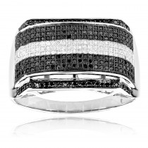 White and Black Diamonds Ring 0.84ct 10k Gold Mens Diamond Band