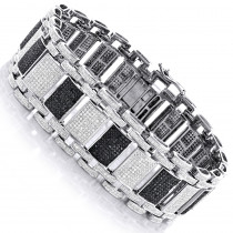 Iced Out 10K Gold Custom White Black Diamond Bracelet for Men 8.47ct