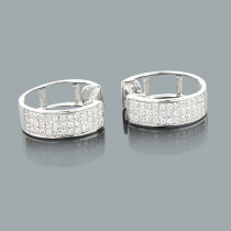 10K Gold Diamond Hoop Huggie Earrings 0.40ct