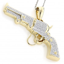 10K Gold Diamond Revolver Pistol Pendant 1ct