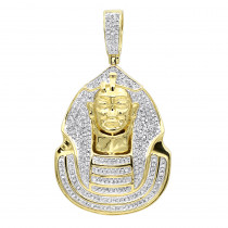 10K Gold Egyptian Pharaoh Head Diamond Pendant For Men 0.9ct