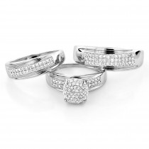 10K Gold Engagement Trio Diamond His and Hers Wedding Ring Set 0.95ct
