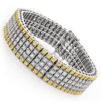 10K Gold Five Row Diamond Bracelet White Yellow 1.38ct