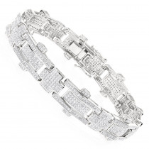 10K Gold Mens Diamond Bracelet 3.58ct