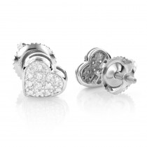 10K Gold Pave Round Diamond Small Heart Earrings 0.12ct