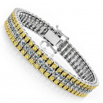 10K Gold Three Row Diamond Bracelet Blue Yellow 1.75ct