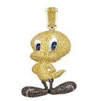 10K Gold Tweety Bird Diamond Pendant 4.11ct