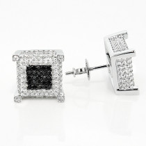 10K Gold  White Black Diamond Earrings 1.21ct