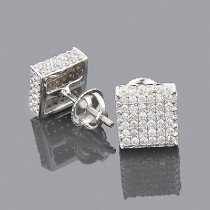 10K Pave Diamond Stud Earrings 1.50ct