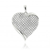 10K Puffed Gold Heart Pendants Item w Diamonds 0.94ct
