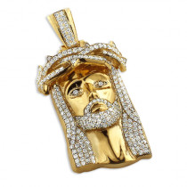 10K Solid Gold Diamond Jesus Piece Pendant Hip Hop Jewelry Jesus Face