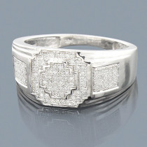 10K White Gold Mens Diamond Ring 0.35ct