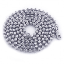 10K White Gold Moon Cut Bead Chain 3mm; 22-40in